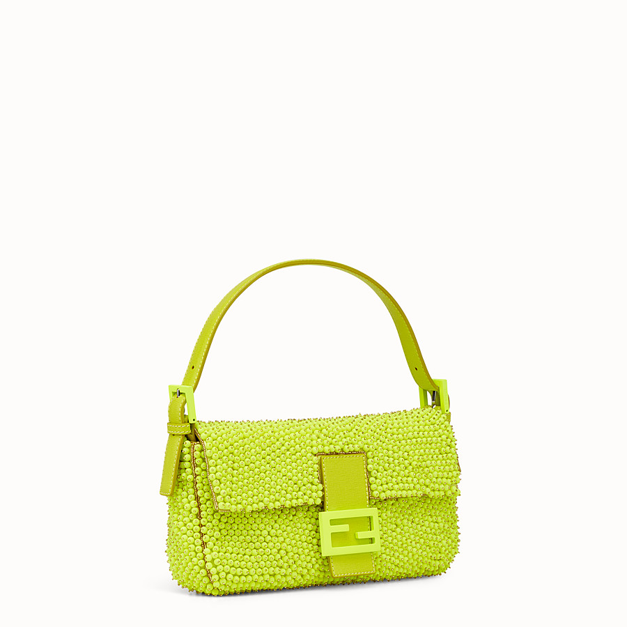 FENDI BAGUETTE - citron yellow shoulder bag decorated all over - view 2 detail