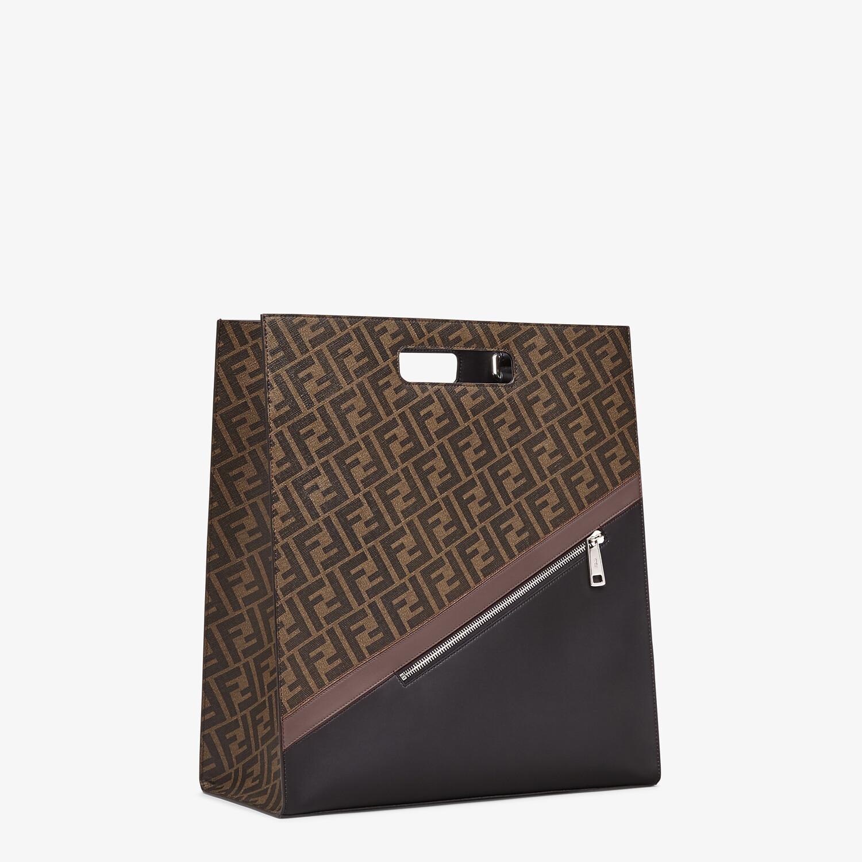 FENDI SHOPPING BAG - Brown fabric shopping bag - view 3 detail