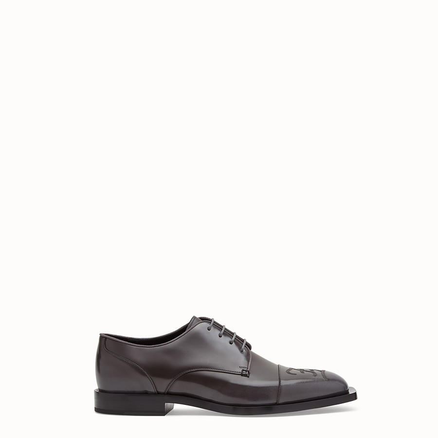 FENDI LACE-UPS - Grey leather lace up - view 1 detail