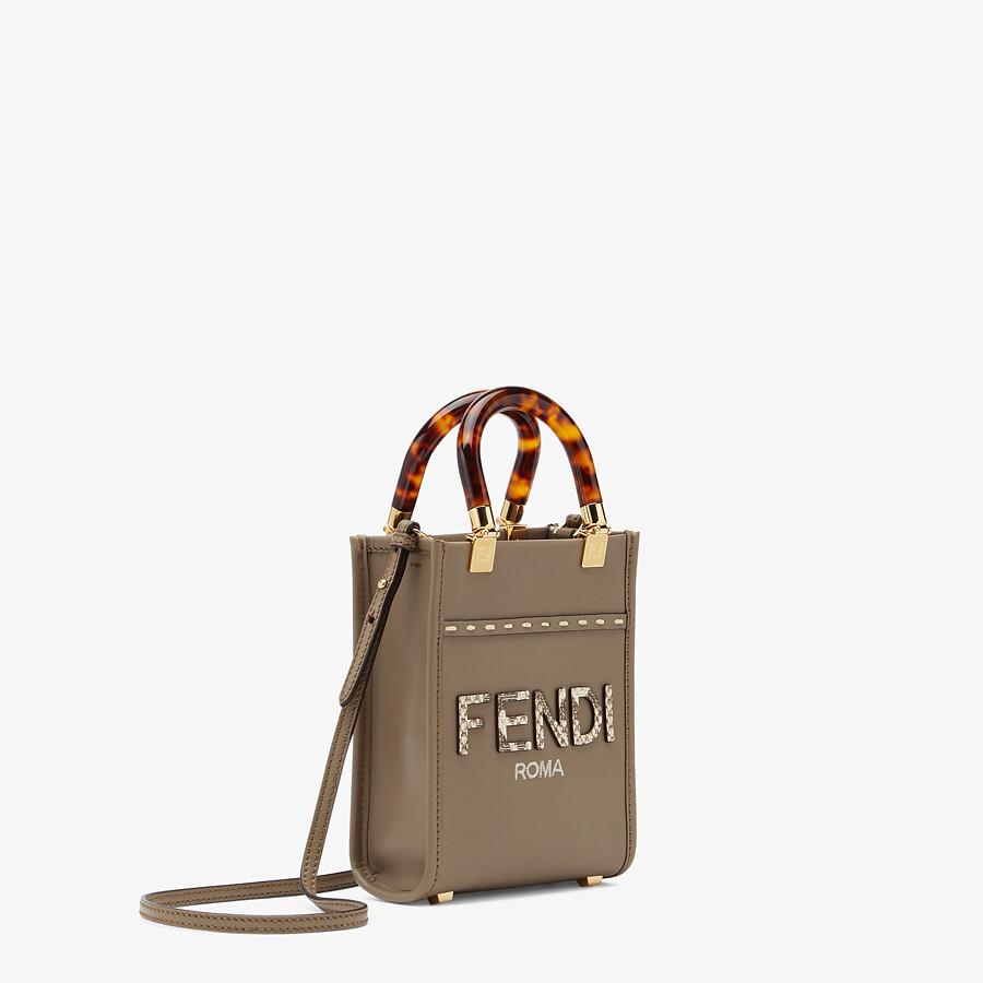 FENDI MINI SUNSHINE SHOPPER - Gray leather and elaphe mini-bag - view 3 detail
