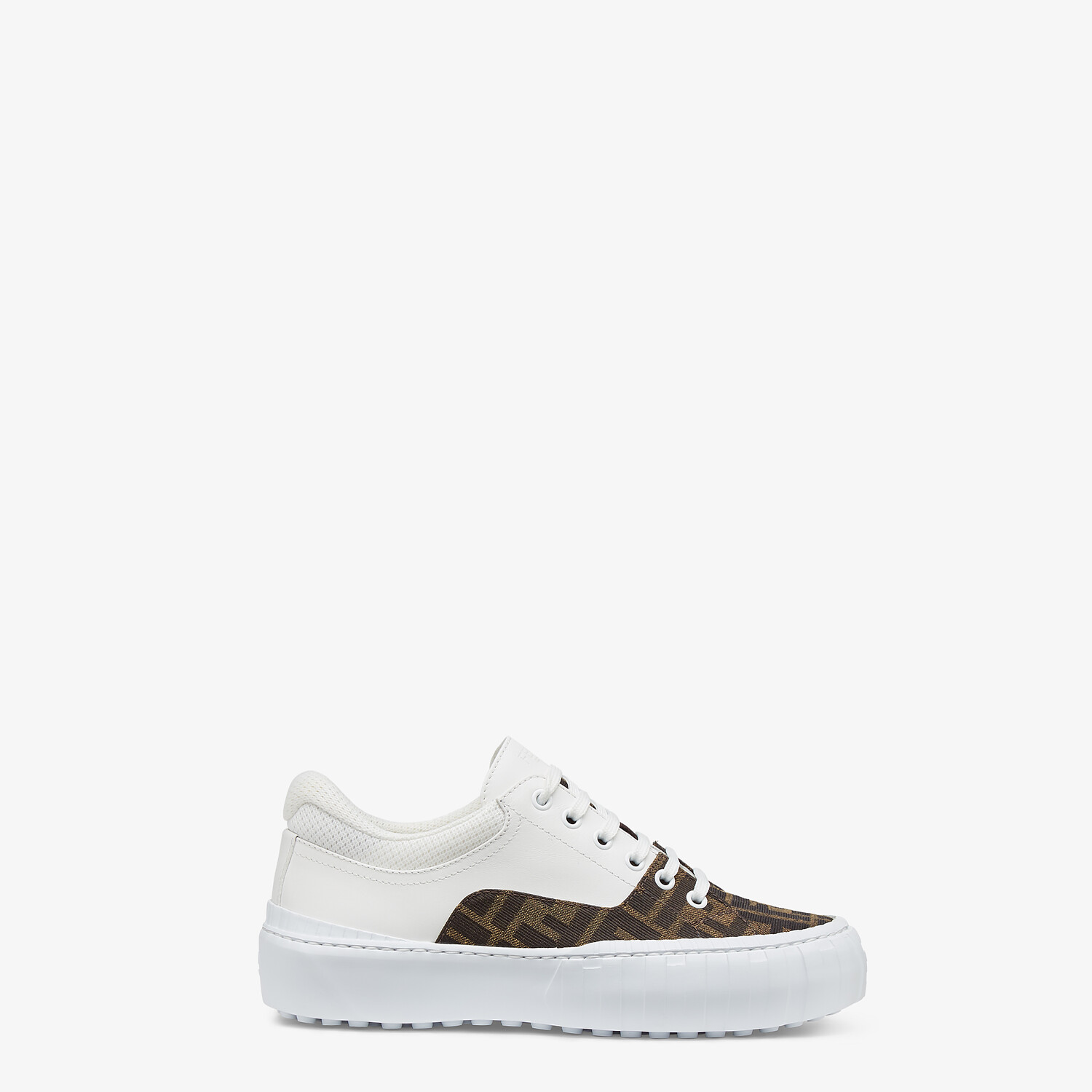 FENDI FENDI FORCE - Brown fabric and leather low tops - view 1 detail