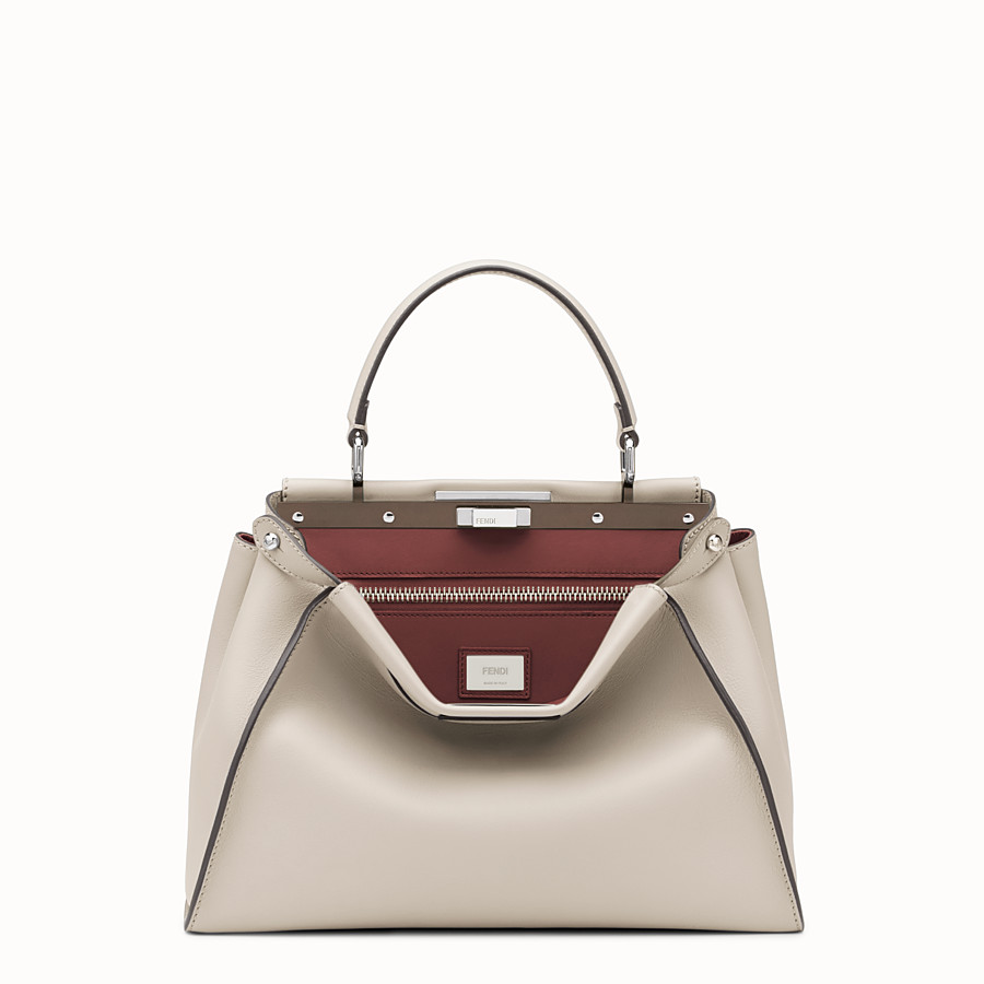 FENDI PEEKABOO REGULAR - Powder-grey leather handbag - view 1 detail