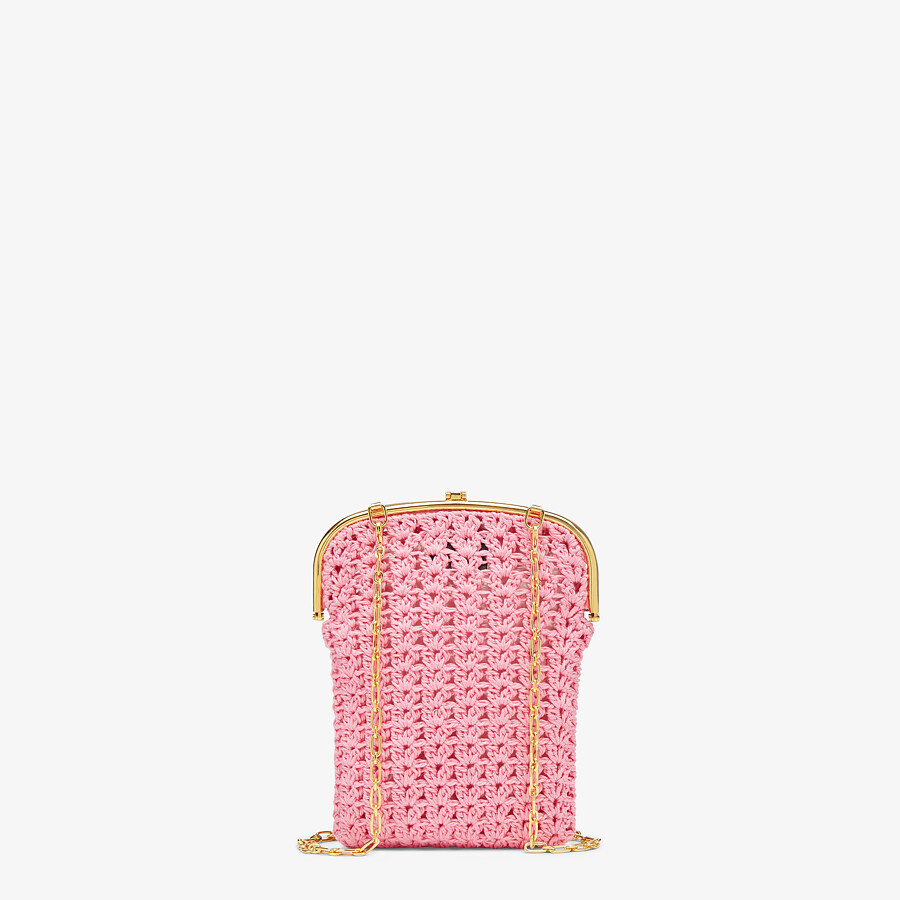 FENDI BAGUETTE PHONE BAG - Pink fabric mini-bag - view 3 detail