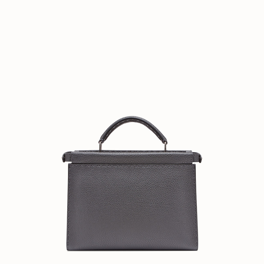 FENDI PEEKABOO ICONIC FIT MINI - Grey calf leather bag - view 3 detail