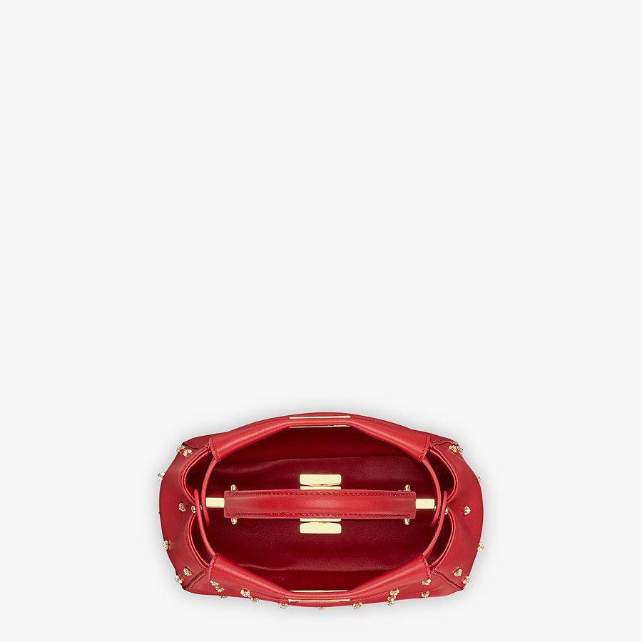 FENDI PEEKABOO ICONIC XS - Mini-Tasche aus Leder in Rot - view 4 detail