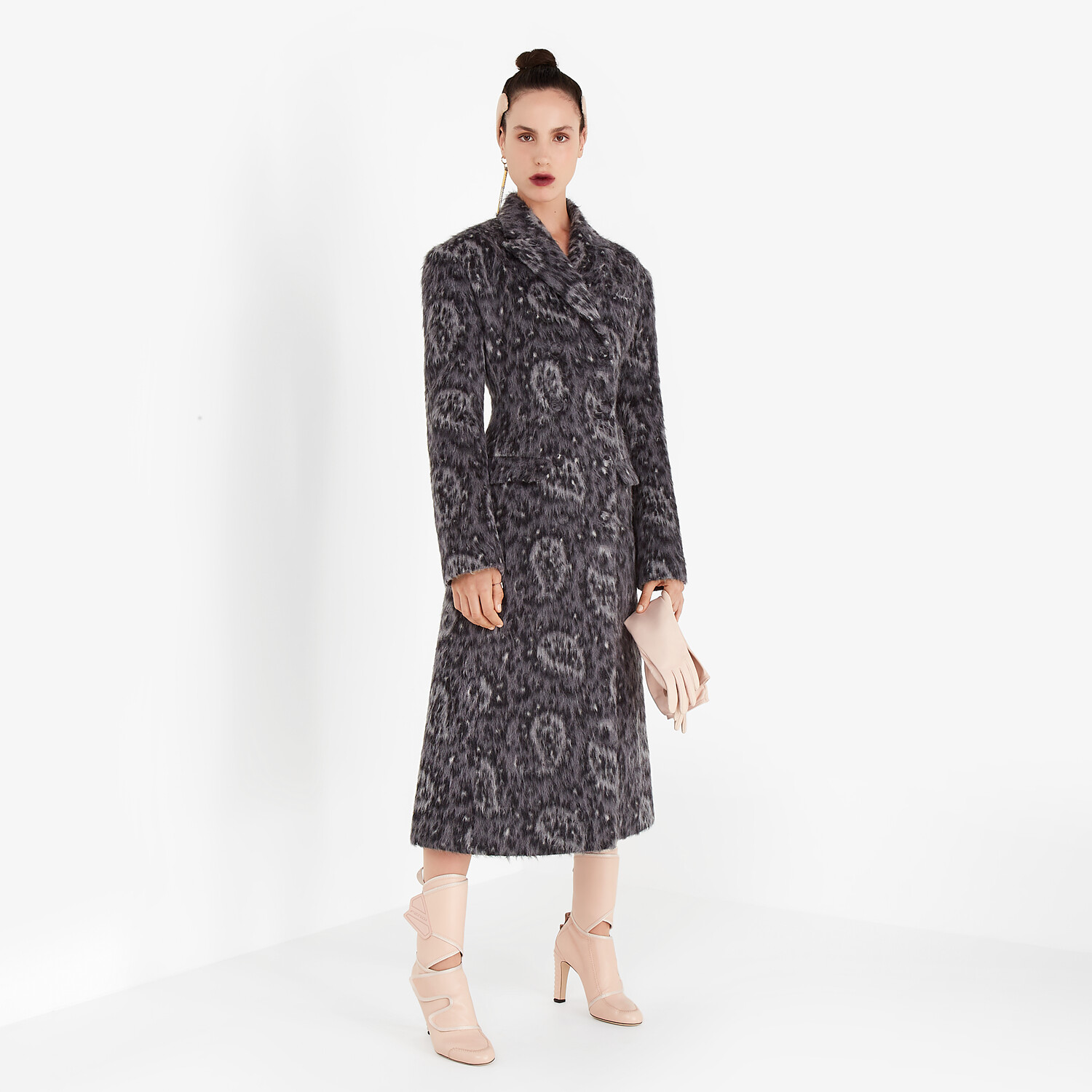 FENDI COAT - Gray wool coat - view 4 detail