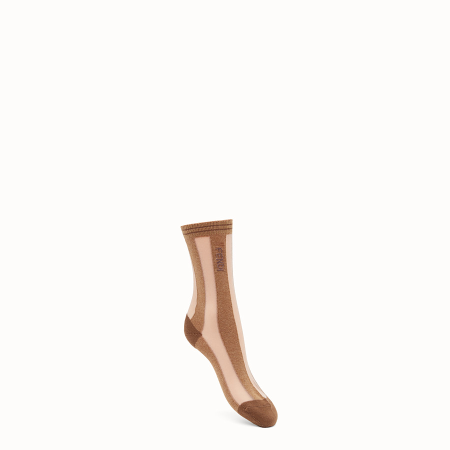 FENDI SOCKS - Beige nylon socks - view 1 detail