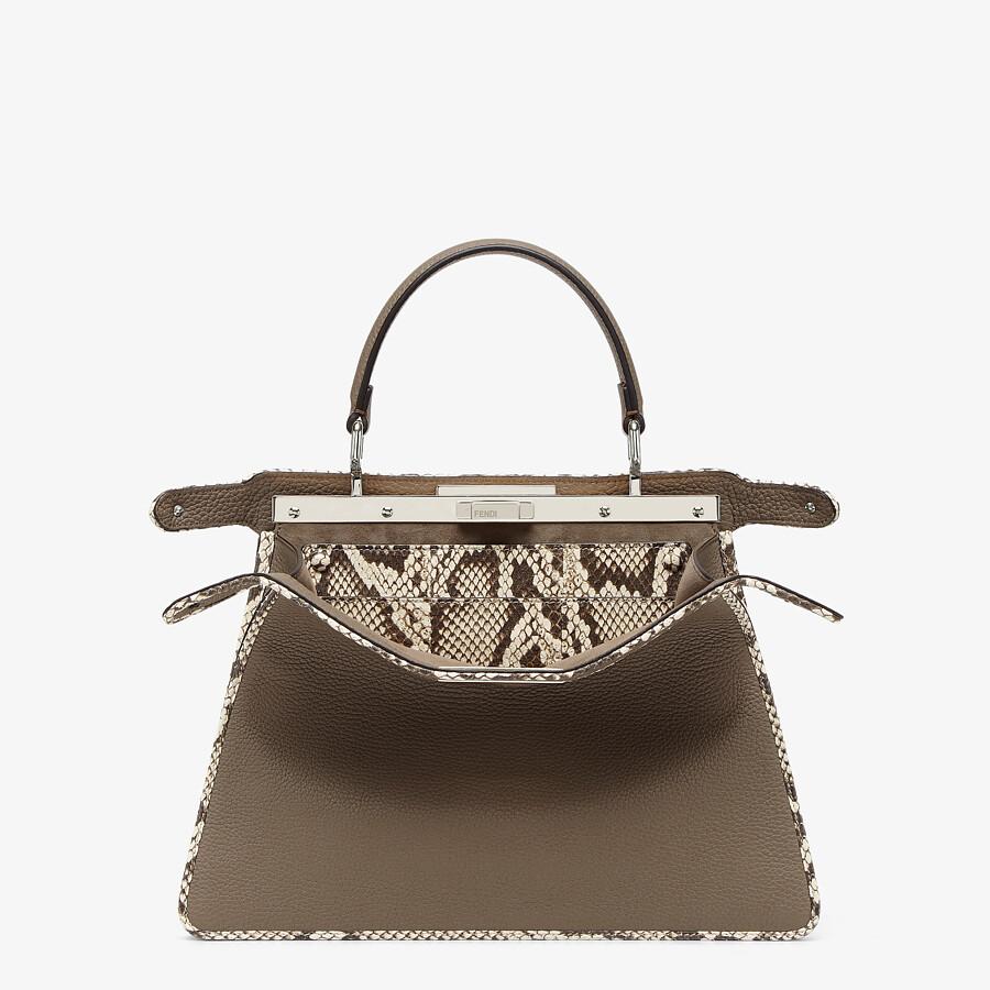 FENDI PEEKABOO ISEEU MEDIUM - Gray full grain leather and elaphe bag - view 3 detail