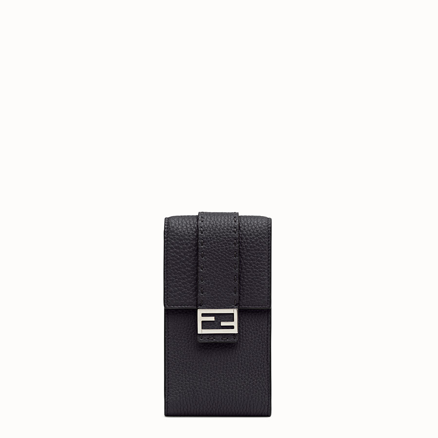 FENDI iPhone X ケース - ブラックレザー カバー - view 1 detail