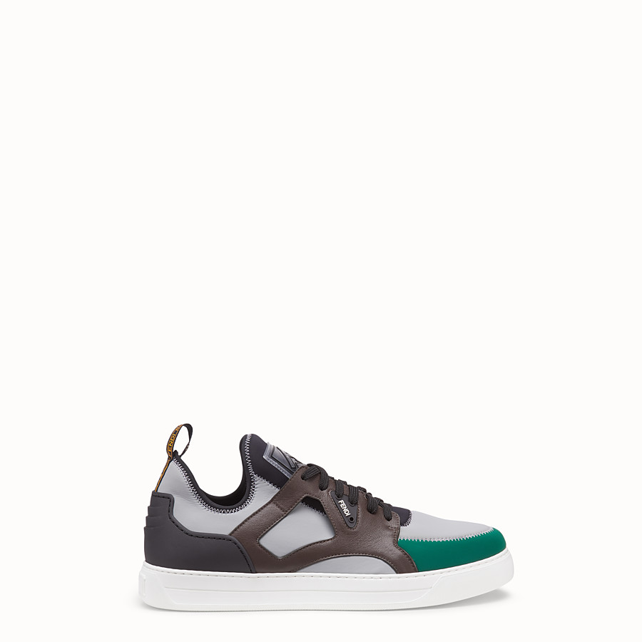 FENDI SNEAKERS - Multicolour leather and fabric low-top - view 1 detail