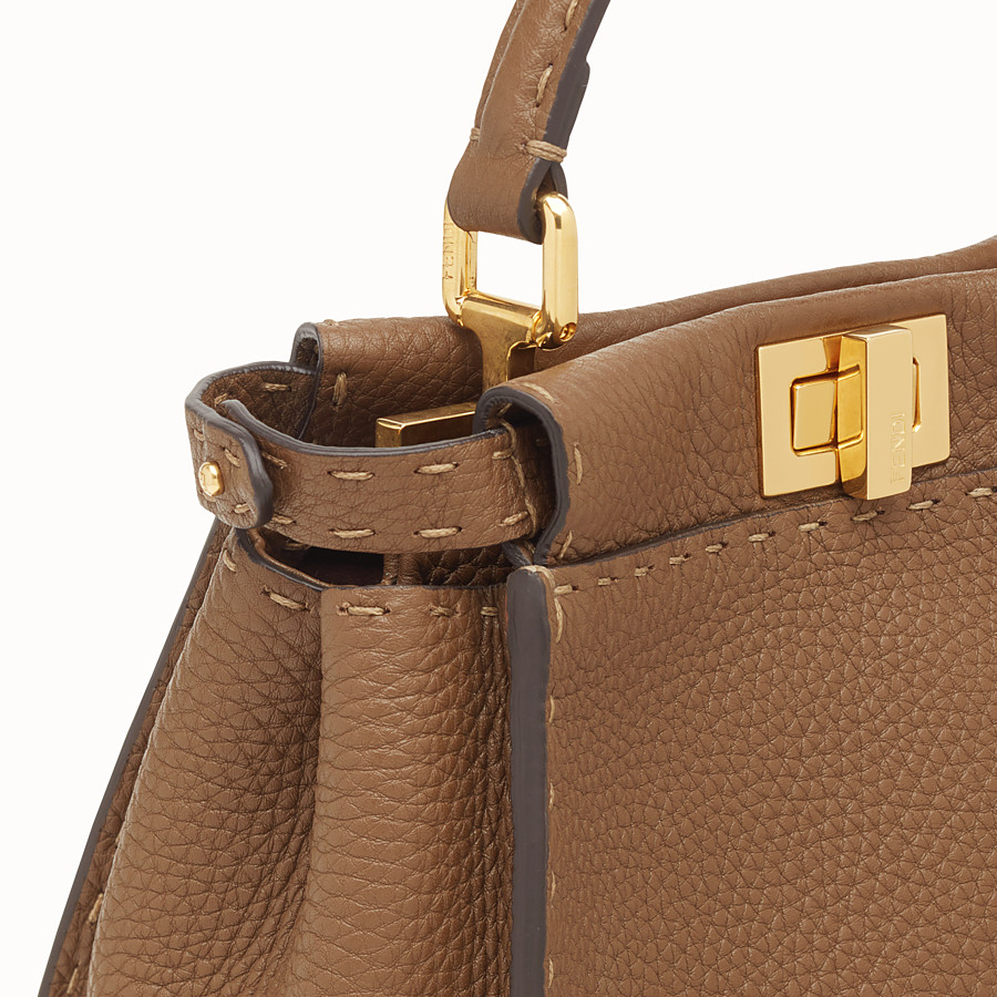 FENDI PEEKABOO MINI - Brown leather bag - view 5 detail