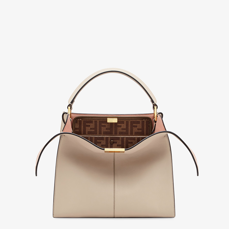 FENDI PEEKABOO X-LITE MEDIUM - Beige leather bag - view 1 detail
