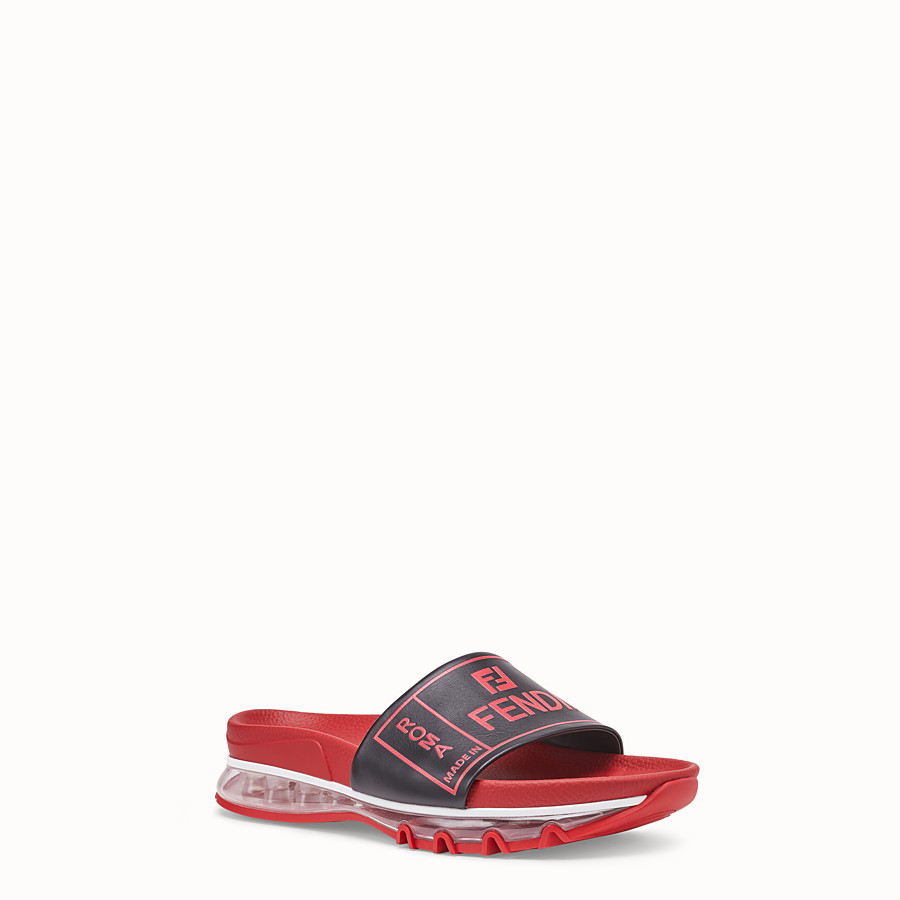 FENDI SANDALS - Red leather and PU slides - view 2 detail