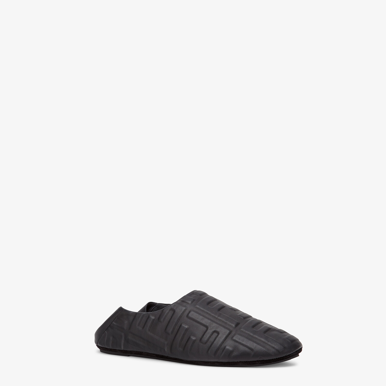 FENDI SLIPPERS - Black nappa leather slippers - view 2 detail