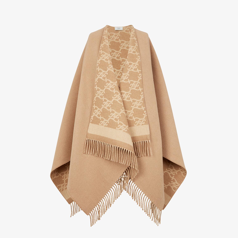 FENDI KARL PONCHO - Beige wool and cashmere poncho - view 1 detail