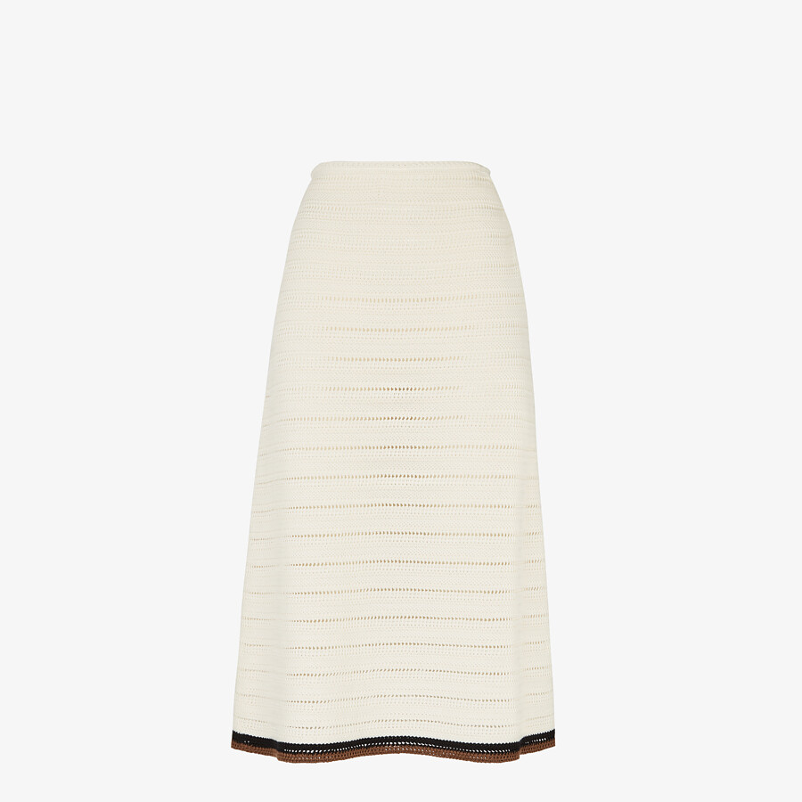 FENDI SKIRT - White cotton skirt - view 1 detail