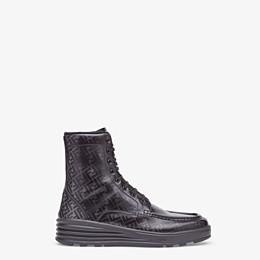 FENDI BOOTIES - Black leather combat boots - view 1 thumbnail