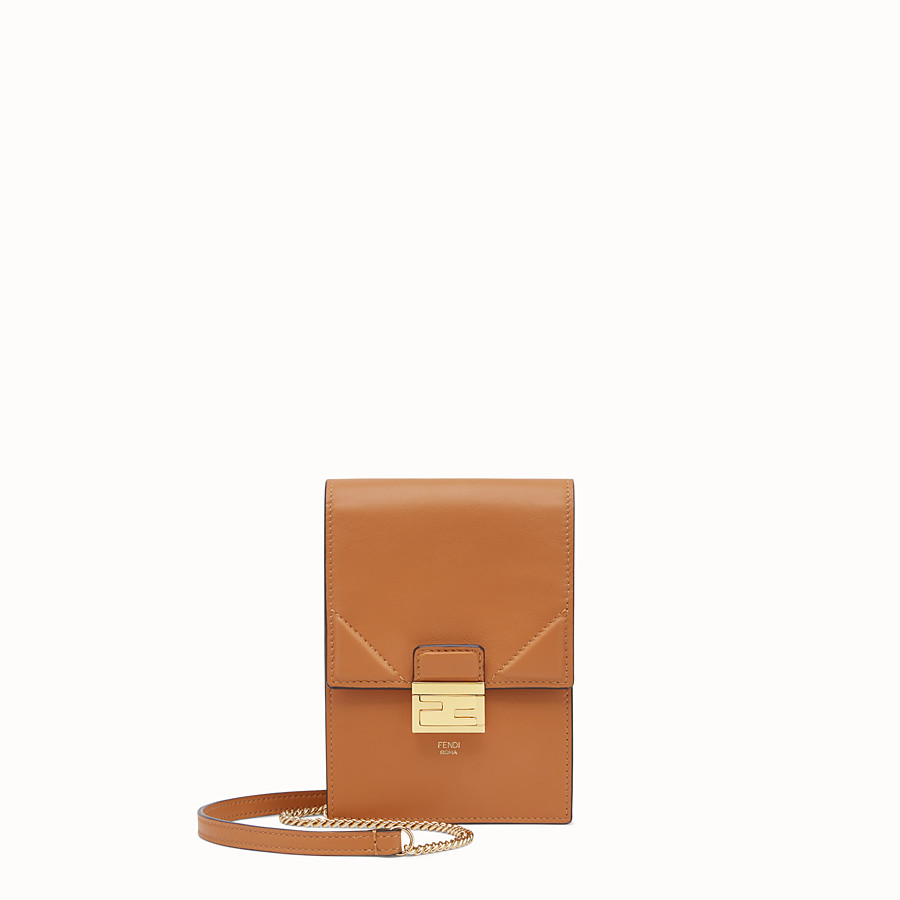 FENDI VERTICAL WALLET ON CHAIN KAN U - Brown leather mini-bag - view 1 detail