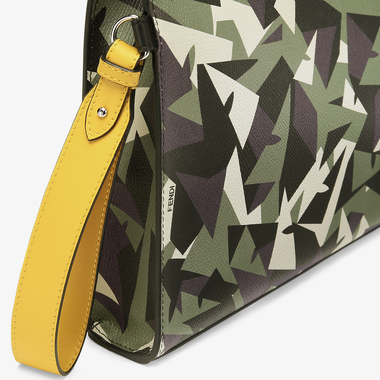 FENDI FLAT POUCH - Green leather pouch - view 5 detail