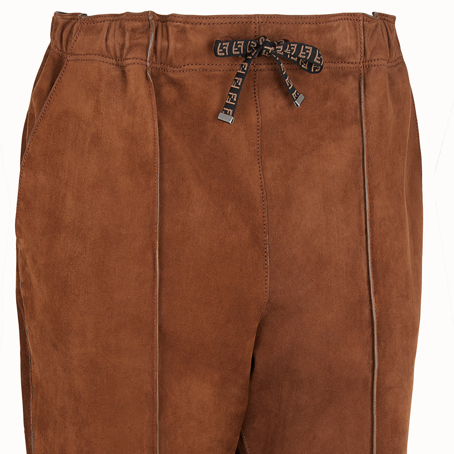 FENDI TROUSERS - Brown suede jogging trousers - view 3 detail