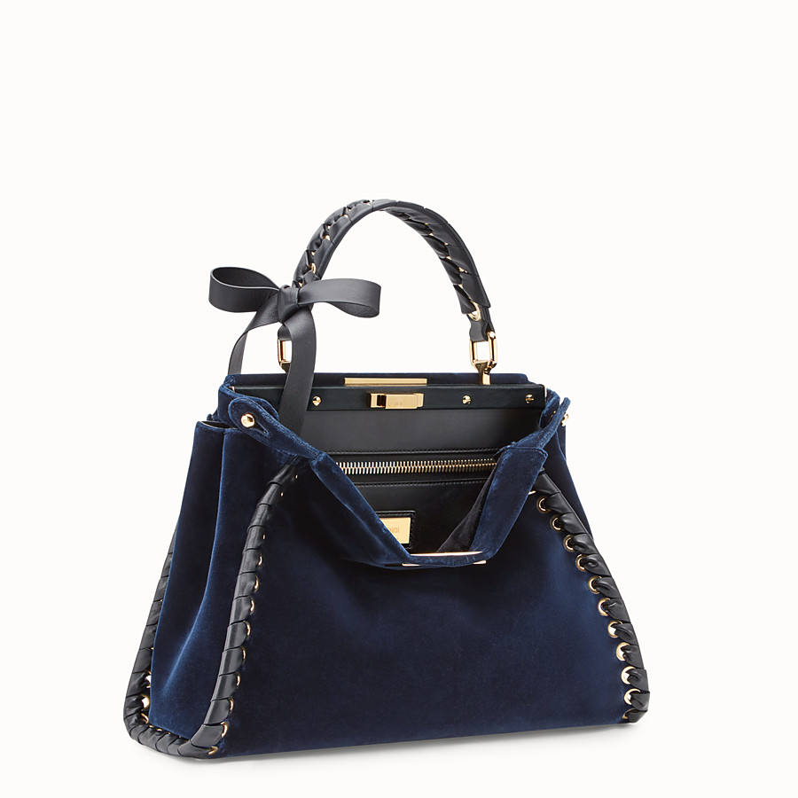 FENDI PEEKABOO REGULAR - Blue velvet bag - view 2 detail