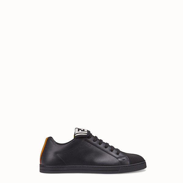 FENDI SNEAKERS - Black mesh and leather low-tops - view 1 small thumbnail