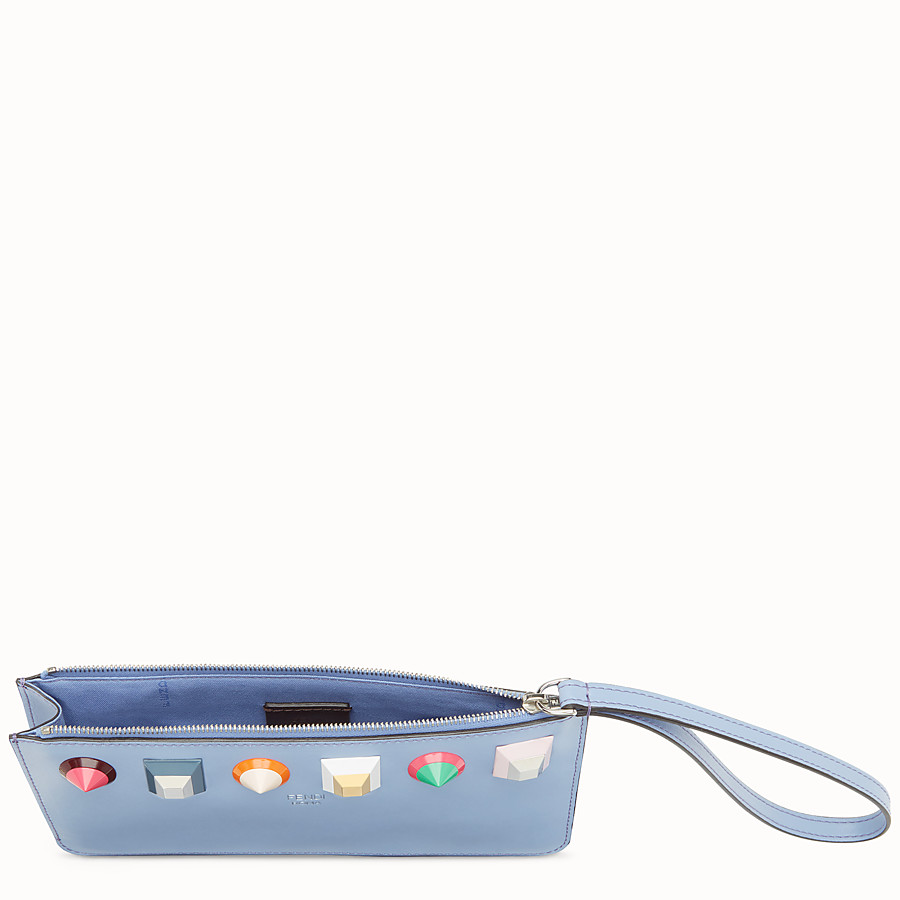 FENDI FLAT CLUTCH - Light blue leather pouch - view 4 detail