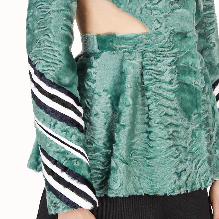 FENDI JACKET - Green fur jacket - view 3 detail
