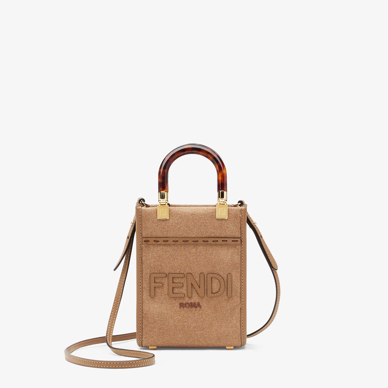 FENDI MINI SUNSHINE SHOPPER - Brown flannel mini-bag - view 1 detail