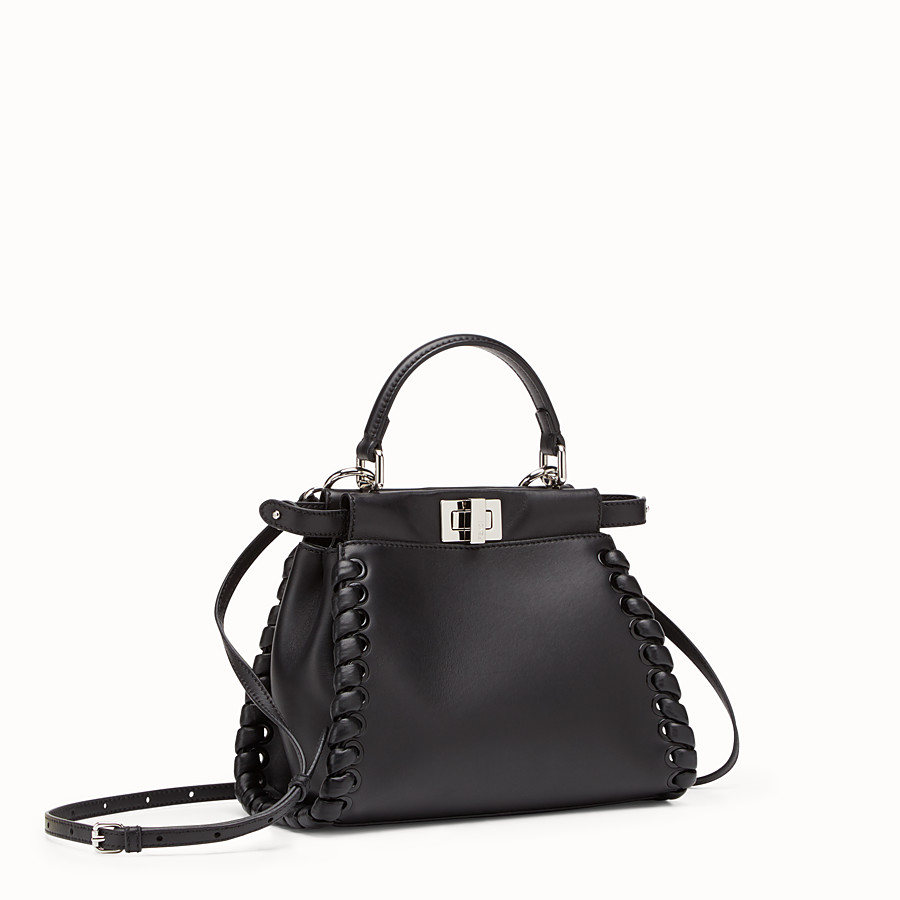 FENDI PEEKABOO ICONIC MINI - black nappa handbag with weave - view 2 detail