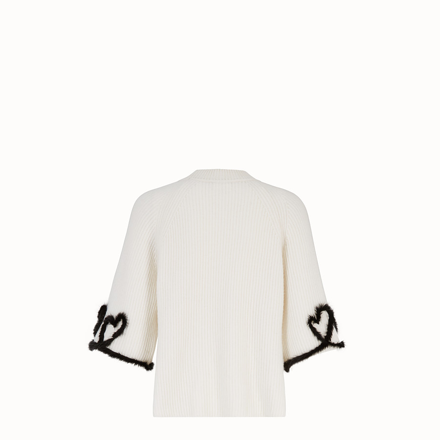FENDI PULLOVER - White wool and cashmere jumper - view 2 detail