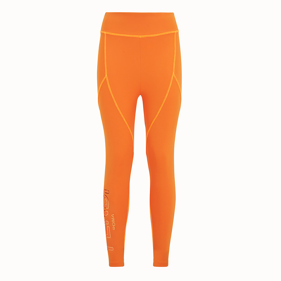 FENDI LEGGINGS - Orange tech fabric trousers - view 1 detail