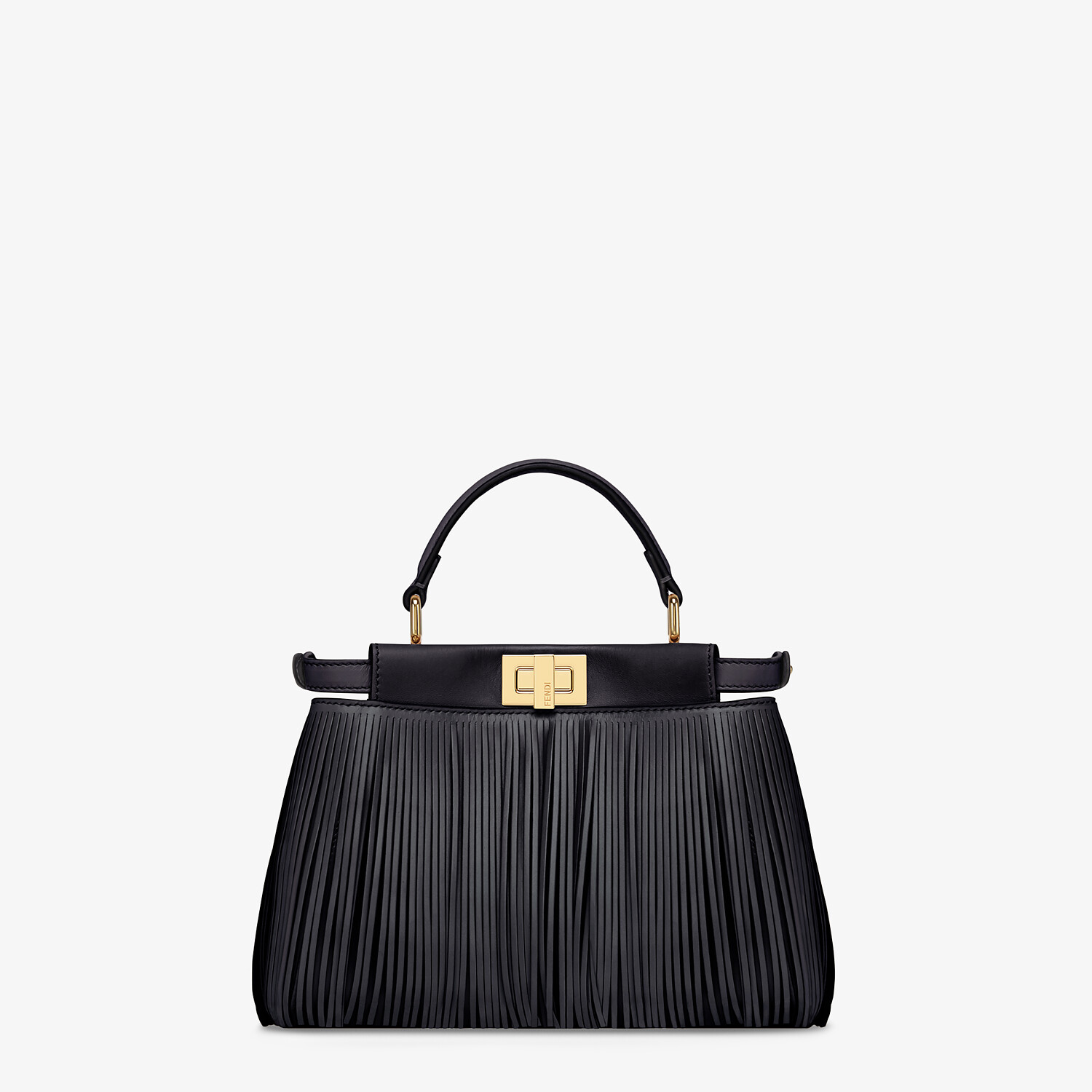 FENDI PEEKABOO ICONIC MINI - Black leather bag with fringes - view 4 detail