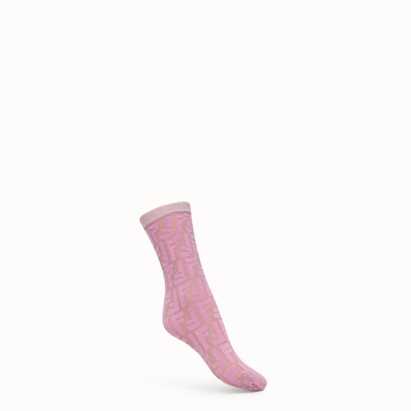 FENDI SOCKS - Pink nylon and Lurex socks - view 1 small thumbnail