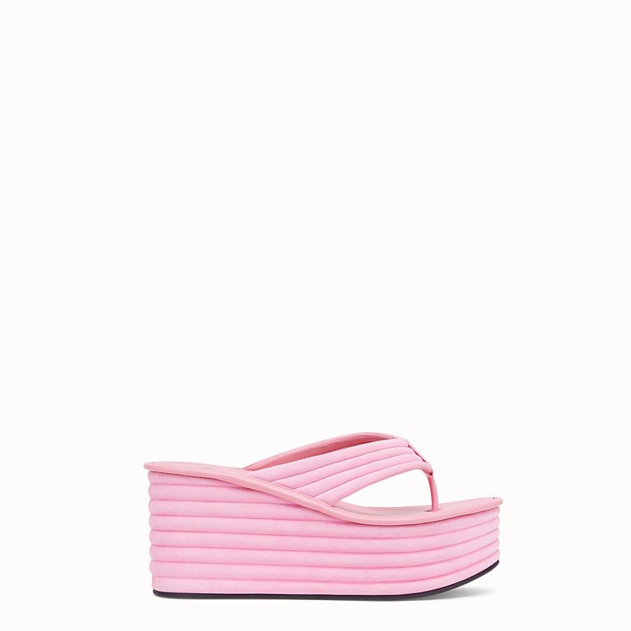 FENDI FLATFORM - Pink suede sandals - view 1 detail