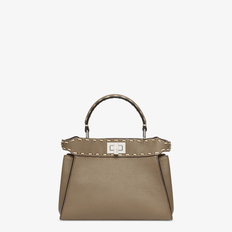 FENDI PEEKABOO ICONIC MINI - Gray full grain leather bag - view 1 detail