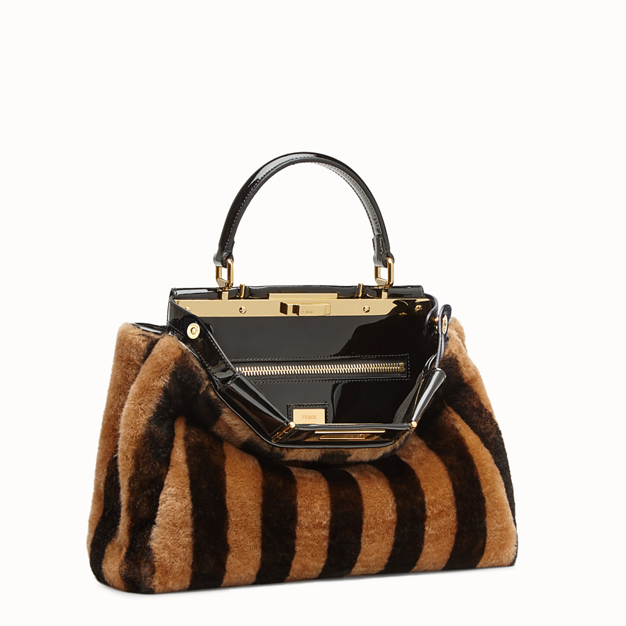 FENDI PEEKABOO ICONIC MEDIUM - Multicolour sheepskin and vinyl bag - view 4 detail