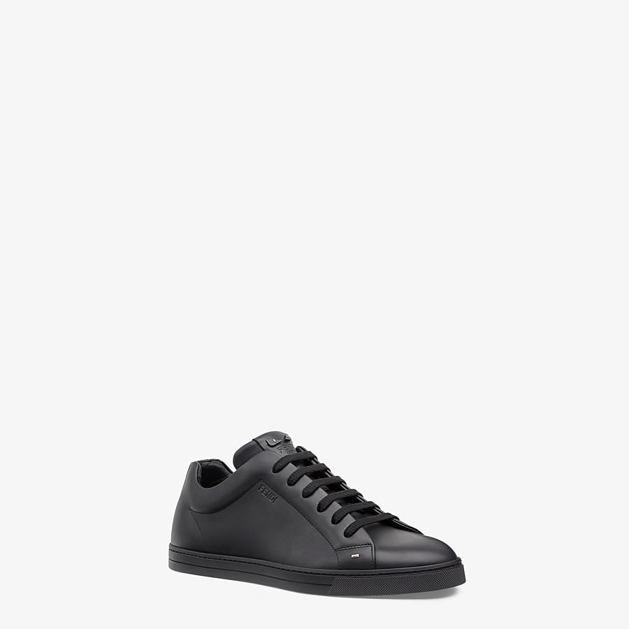 FENDI SNEAKERS - Black leather low-tops - view 2 detail