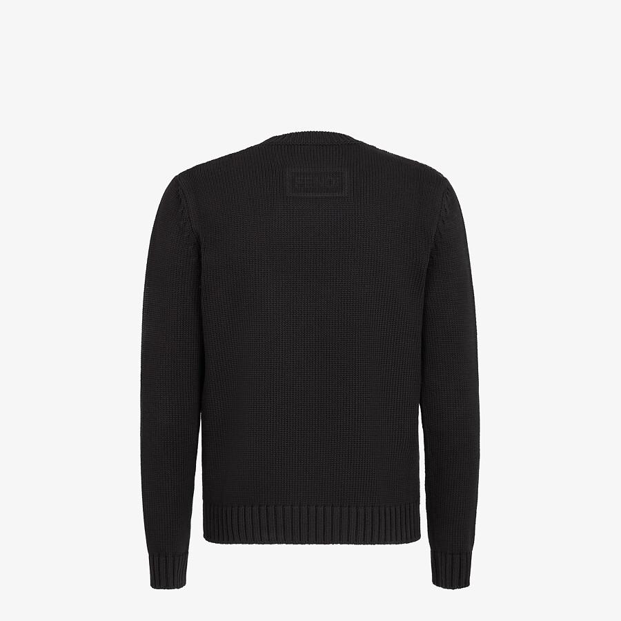 FENDI SWEATER - Black cotton and silk sweater - view 2 detail