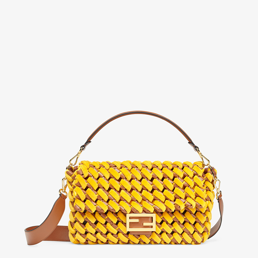 FENDI BAGUETTE LARGE - Yellow mink and nappa leather bag - view 1 detail