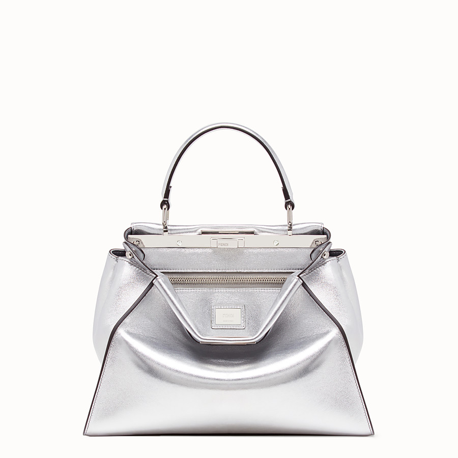 FENDI PEEKABOO ICONIC MEDIUM - Silver leather bag - view 1 detail