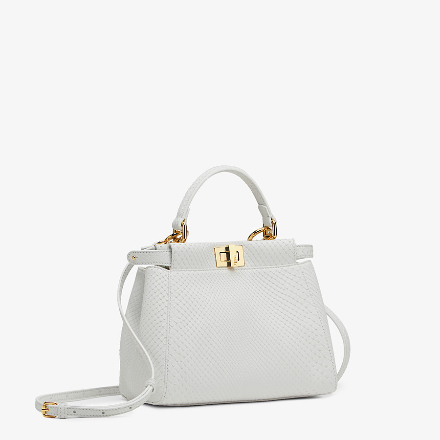 FENDI PEEKABOO ICONIC MINI - White python leather bag - view 2 detail