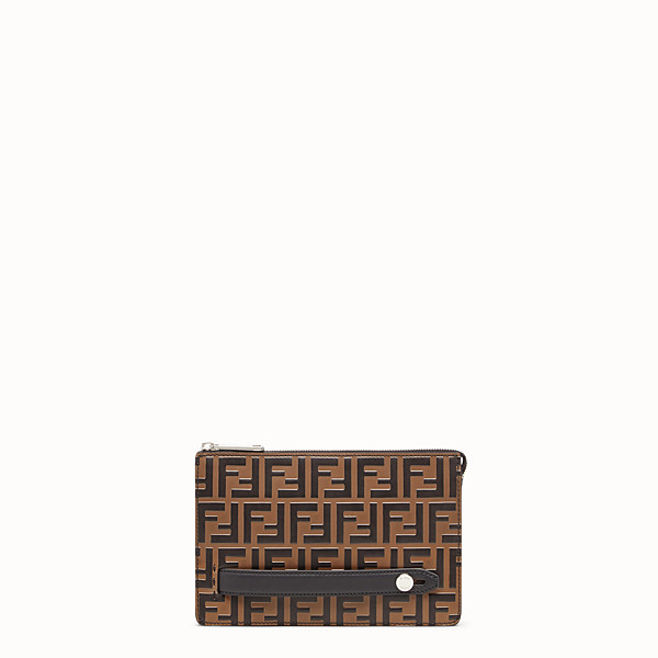 FENDI CLUTCH - Brown leather slim pouch - view 1 small thumbnail