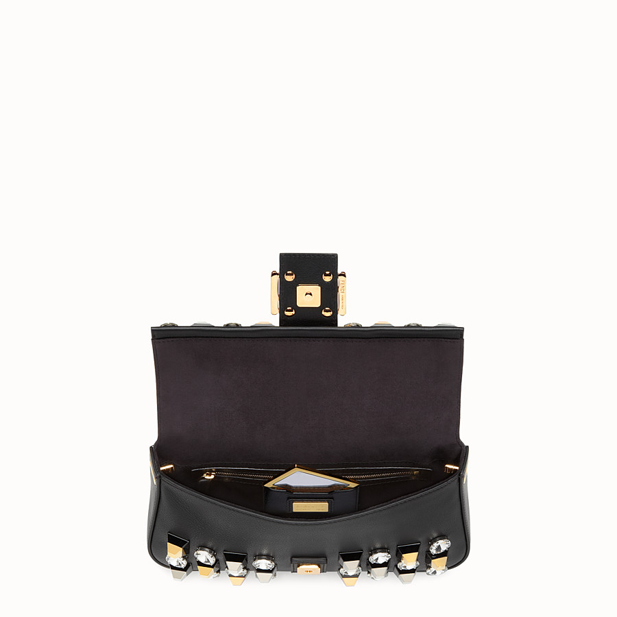 FENDI BAGUETTE - leather shoulder bag with studs and rhinestones - view 4 detail