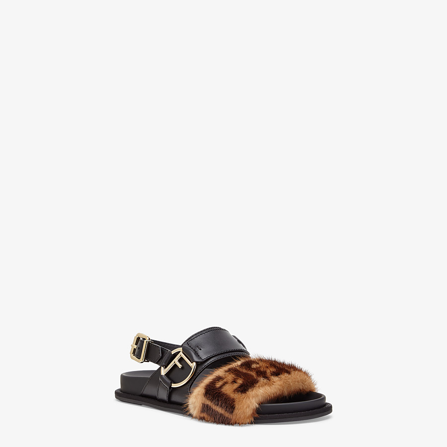 FENDI SANDALS - Black leather slingbacks - view 2 detail