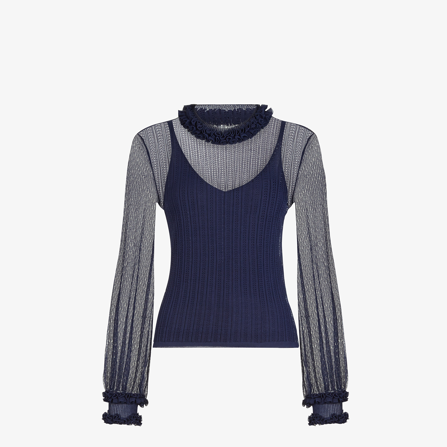 FENDI PULLOVER - Blue lace jumper - view 1 detail
