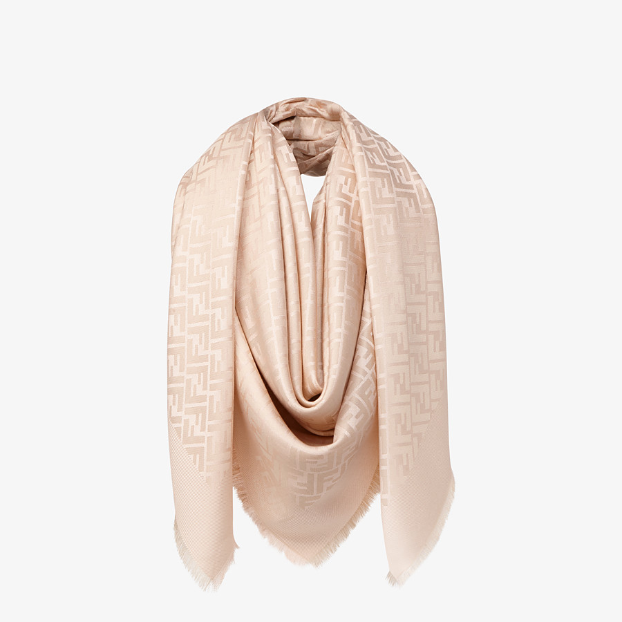 FENDI FF SHAWL - Pink silk, viscose and wool shawl - view 2 detail