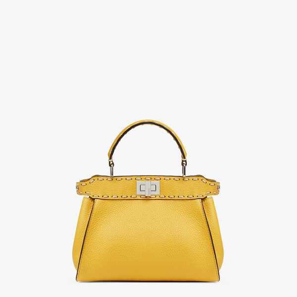 Yellow full grain leather bag