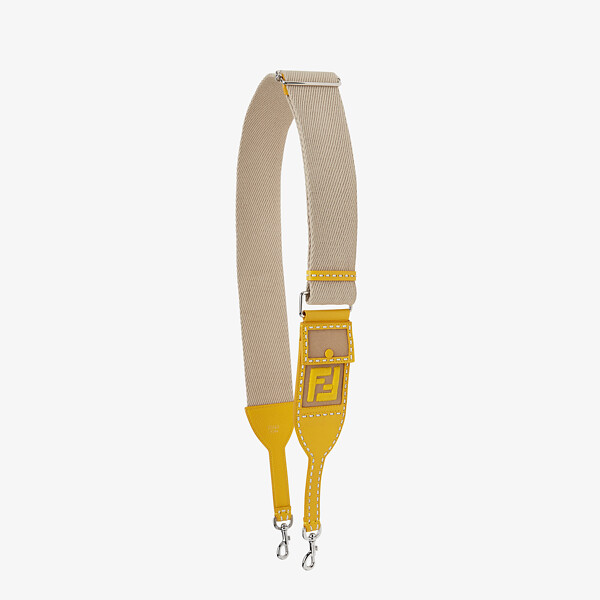 Beige and yellow ribbon shoulder strap
