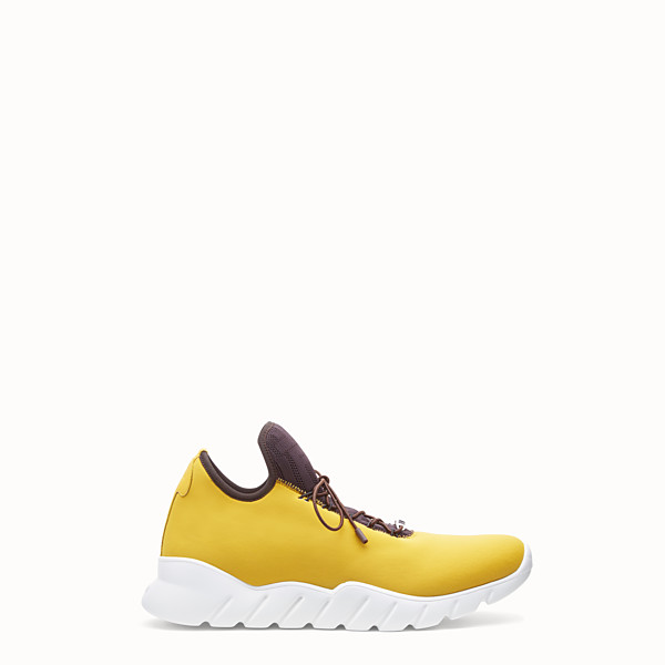 FENDI SNEAKERS - Yellow fabric high-tops - view 1 small thumbnail